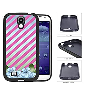Blue Flowers With Diagonal Pink Stripes Rubber Silicone TPU Cell Phone Case Samsung Galaxy S4 SIV I9500