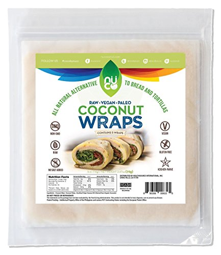 NUCO All-Natural Paleo Gluten-Free Vegan Coconut Wraps (Non-Gmo), 5 Count (One Pack of Five (Soy Wraps)