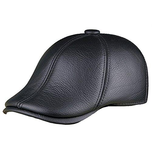 Genuine Leather Duckbill Cap Detective Hat Flat Beret Hat For Men Solid Black