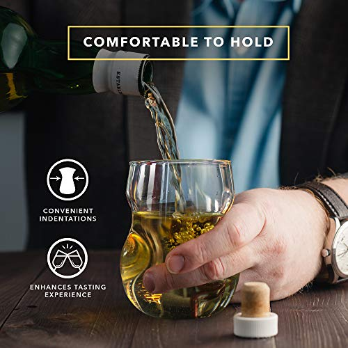 Dragon Glassware Wine Glasses, Lead-Free Stemless Clear Glass with Finger Indentations, Comes in Luxury Gift Packaging…