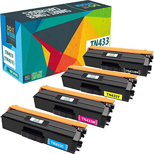 Do it Wiser TN433 TN-433 TN431 Compatible Toner for Brother MFC L8900CDW HL-L8360CDW HL-L8260CDW MFC-L8610CDW MFC-L9570CDW HL-L9310CDW | 4 Pack - 4,500 and 4,000 Pages