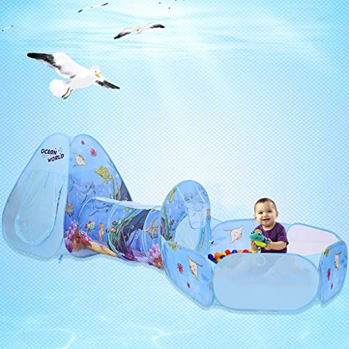 CapsA 3-in-1 Folding Kids Play Tent with Tunnel Ball Pit Zippered Storage Bag Children's Tent Ball Pit Game House Boy Girl Indoor Outdoor Basketball Hoop Toys for Boys Girls Babies (Blue)