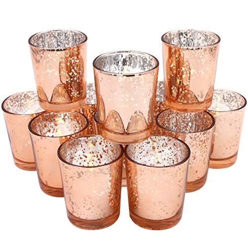 Glass Votive Candle Holders 2.64 Inches H (Set of 12, Speckled Rose Gold) - For Use with Tealights, Parties, Weddings,Spa,Aromatherapy and Home Decor ()