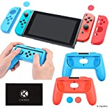 CamKix Compatible Grip Boost Kit Replacement for Nintendo Switch - 2x Gamepad Shaped Cover, 2x Joy Con Cover, 4x Thumb Grip Cover, 1x Cleaning Cloth - Maximum Comfort and Grip - Perfect Fit