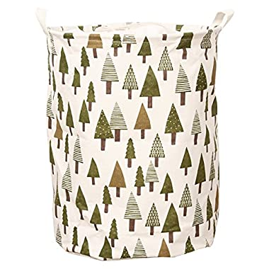 COSMOS Waterproof Ramie Cotton Fabric Collapsible Laundry Hamper Bucket Cylindric Storage Basket (Pine Tree Pattern)