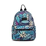 Fvstar Cute Teen Girls Canvas Backpack Mini School Bag Purse Daypack for Travel (Blue Leaves, L)