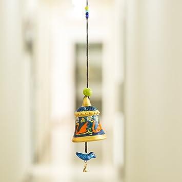 ExclusiveLane Pintado a Mano de Terracota Tapiz de Bell Colgante con Pájaro – Wind Chimes Campanas
