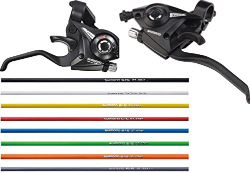 (SHIMANO St-ef51 Rapid Fire 3 x 7 21 Speed Shifter Lever Set w/Red Housing)