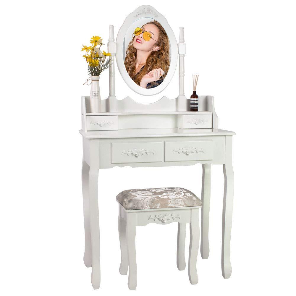 EUCO Coiffeuse Blanche,Coiffeuse avec 3 Miroir 7 tiroirs et Tabouret,Table de Maquillage en Bois,Coiffeuse Enfant//Femme,Meubles de Salle de s/éjour