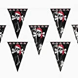 100 ft pirate pennant banner 48 party flags jolly roger - Pirate Decorations