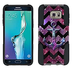 Samsung Galaxy S6 Edge Plus Hybrid Case Anchor on Chevron Black White on Nebula 2 Piece Style Silicone Case Cover with Stand for Samsung Galaxy S6 Edge Plus