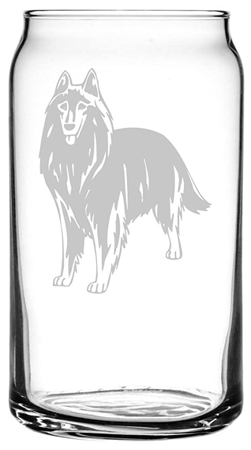 Belgian Shepherd Dog (Groenendael) Dog Themed Etched All Purpose 16oz  Libbey Can Glass 91fbdb7702d
