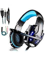 HOPHO Gaming Headset für PS4, Gaming Kopfhörer mit Mikrofon Stereo Surround Bass Sound 3.5 mm Schnittstelle Professional Kopfhörer mit LED Licht für Xbox One, PC, Nintendo Switch,Laptop, Mac, Tablet