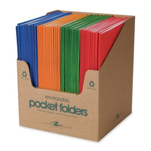 Wholesale CASE of 5 - Roaring Spring Heavy-duty Stock Two Pocket Folders-Two Pocket Folders, 11-3/4''x9-1/2'', 100/CT, Fashion Asst.