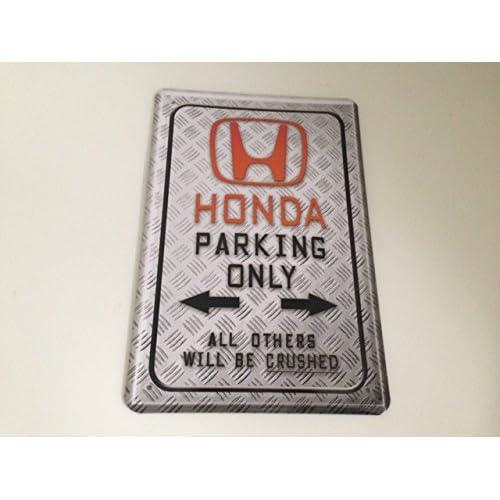 free shipping Plaque en tôle pour place de stationnement avec inscription Honda parking only 20 x 30 cm