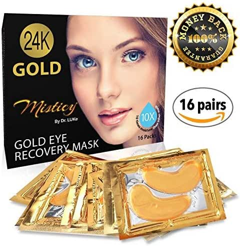 24k Gold Mask, 16 Pairs - Under Eyes Collagen Gold Mask For Dark Circles - Anti-aging Hyaluronic Acid Eye Patches for Moisturizing, Anti Wrinkle, Whitening, Remove Puffiness, Blemishes & Blackheads