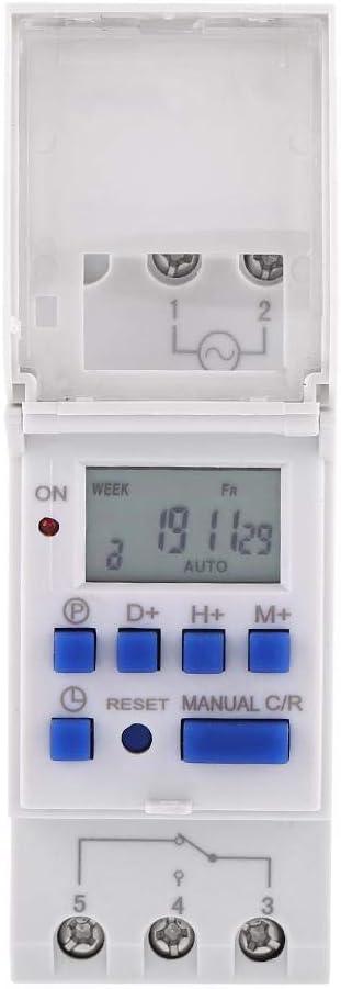 TOPINCN Programmateur Horaire Electrique Minuterie Relais Interrupteur horaire Afficheur LCD R/étro-/éclairage Pr/ér/églage Hebdomadaire Programmable 24V