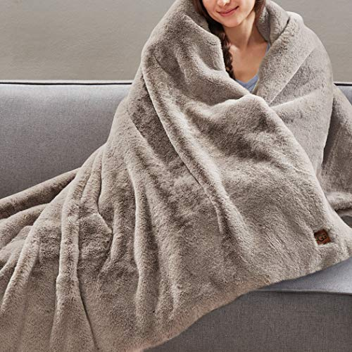 UGG Stellan Plush Faux Fur Weighted Blanket, Light Fawn