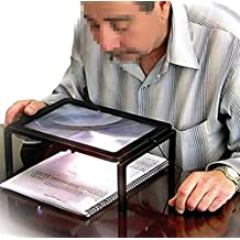 Foldable Desk A4 Full Page Large Reading Magnifier with 4 LED Lights Ultra-thin Lens Stand 3X Desktop Magnifying Glass