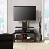 Whalen 3 Shelf TV Stand with Mount for TVs up to 46, Weathered dark pine finish