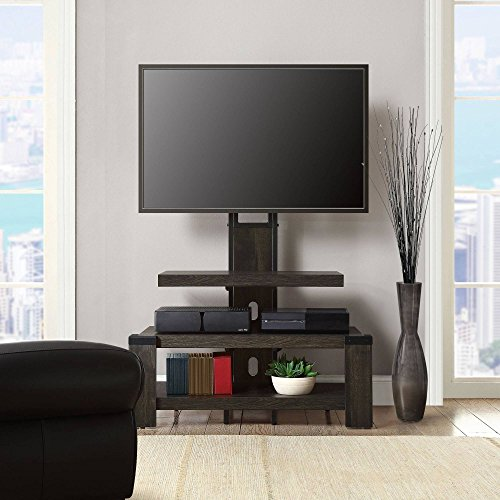 Whalen 3 Shelf TV Stand with Mount for TV's up to 46', Weathered dark pine finish