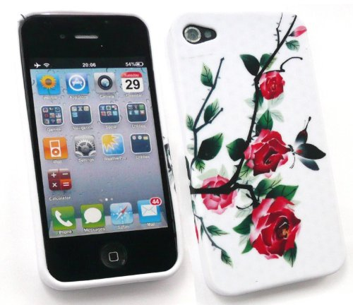 Emartbuy Apple Iphone 4 4G Hd-Lcd-Display Schutzfolie Und Gel Skin Cover Wild Roses
