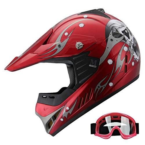 - Kid ATV Motocross Dirt Bike Off-road Helmet Combo Skull YA82 +goggles (Wine Red, YL)