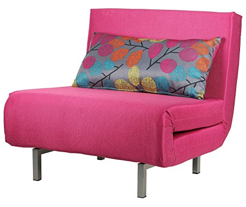 Cortesi Home Convertible Accent Chair Bed, Savion Pink - Oversized Sleeper Chair