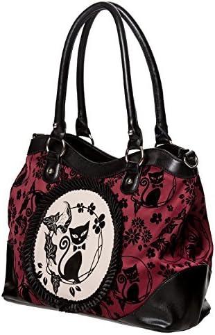 1950s Handbags, Purses, and Evening Bag Styles Banned Apparel Phoenix Cat Kitty Floral Flocked Rockabilly Handbag £31.95 AT vintagedancer.com