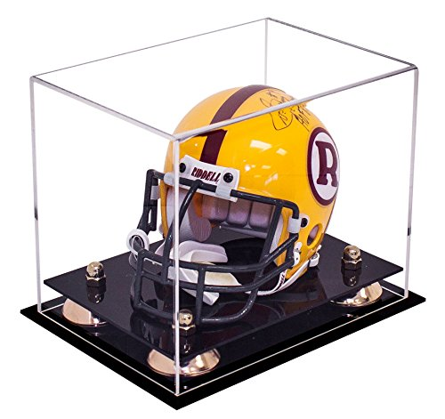 Better Display Cases Mini Football Helmet Display Case (not Full Size) Clear Acrylic Plexiglass with Gold Risers (A003-GR)