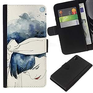 A-type (Watercolor Girl Blue Hair) Colorida Impresión Funda Cuero Monedero Caja Bolsa Cubierta Caja Piel Card Slots Para Sony Xperia Z2 D6502