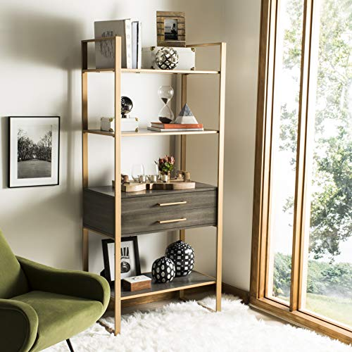 - Safavieh ETG6204A Home Collection Skylar 4 Tier 1 Drawer Etagere, Gold/Grey