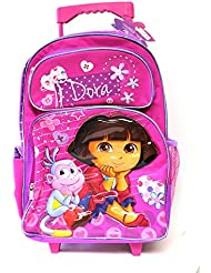 Full Size Pink and Purple Dora the Explorer Rolling Backpack Luggage