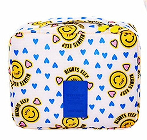 IWin Mall Printed Multifunction Portable Travel Toiletry Bag Cosmetic Makeup Pouch (Yellow - Shape Face Your Finding