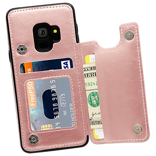 Galaxy S9 Wallet Case, MMHUO Premium PU Leather Galaxy S9 Case with Credit Card Holder Double Magnetic Buttons Flip Shockproof Protective Cover Samsung Galaxy S9 5.8 Inch (2018 Release) -Rose Gold