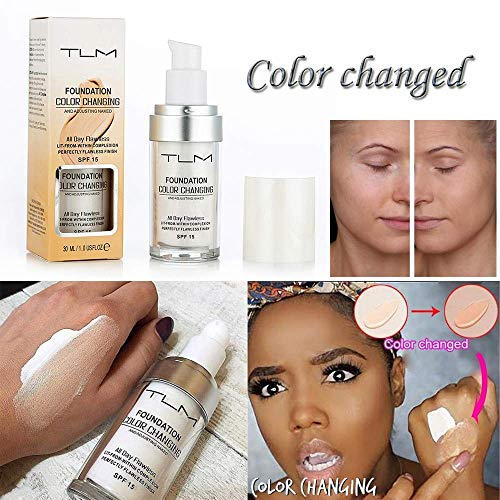 TLM Flawless Colour Changing Warm Skin Tone Foundation Makeup Base Nude Face Moisturizing Liquid Cover Concealer SPF15