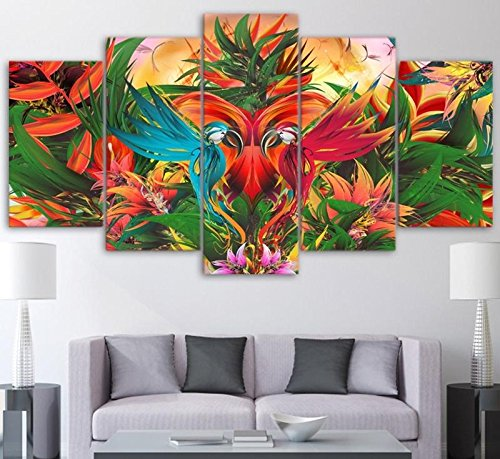 Parrot Photo Frame ([Medium] Premium Quality Canvas Printed Wall Art Poster 5 Pieces / 5 Pannel Wall Decor Colorful Parrots Painting, Home Decor Pictures - With Wooden Frame)