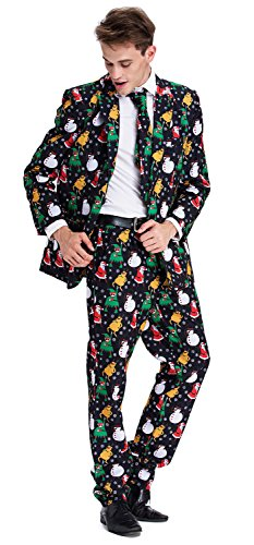 Costume Pattern Snowman (YOU LOOK UGLY TODAY Mens Bachelor Party Suit Funny Costume Novelty Xmas Jacket with Tie CHRISTMAS)