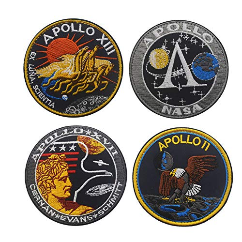 Nasa Patch - SOUTHYU 4 Pack NASA Space Apollo 11/13/17 Space Shuttle Mission Tactical Morale Patches Military Emblem Embroidered Badge, Hook and Loop Patch