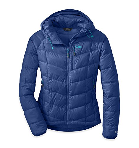 - Outdoor Research Women's Sonata Hooded Down Jacket, Baltic/Typhoon, Large