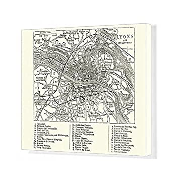 Amazon Com Media Storehouse 20x16 Canvas Print Of Map Of Lyons