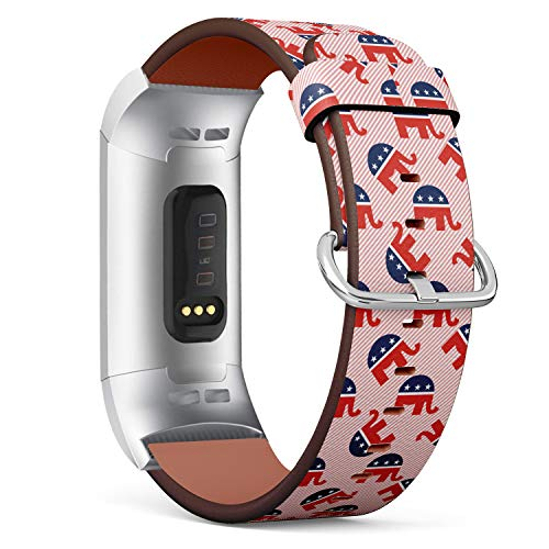 Replacement Leather Strap Printing Wristbands Compatible with Fitbit Charge 3 / Charge 3 SE - Republican Elephants Pattern on red Stripes