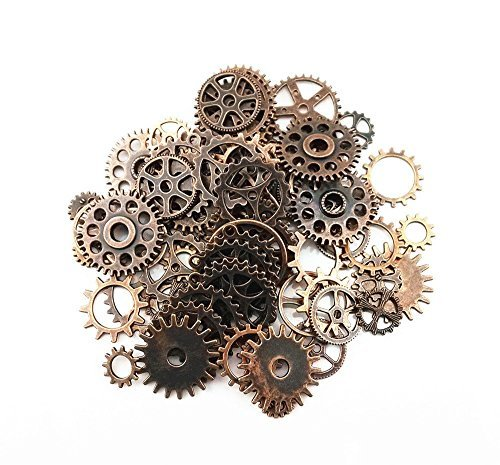 Sunshine Antique Steampunk Gears Charms Pendant Clock Watch Wheel Gear for Crafting, Jewelry Making Accessory (100 Gram Assorted -Copper) (Wheel Pendant Sun)