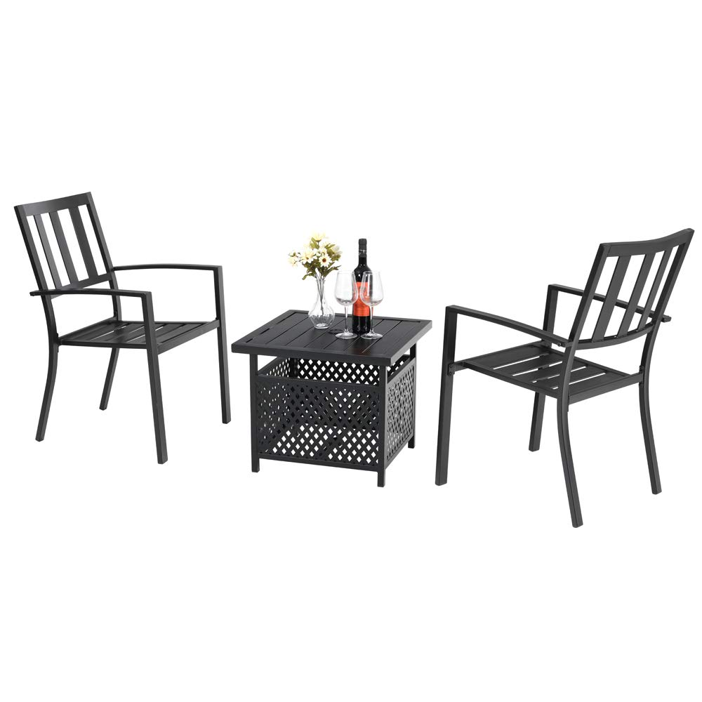 PHI VILLA 3 Piece Patio Metal Umbrella Table,Dining Bistro Side Chairs Set