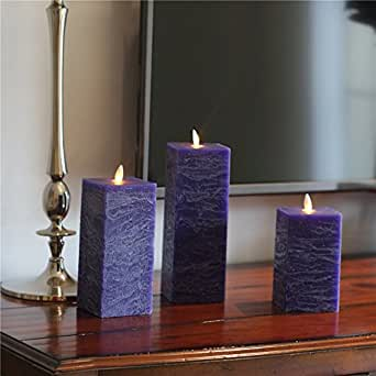 Frost Matte Blue Moving Wick Flameless Flickering Cube Candle - Set Of 3