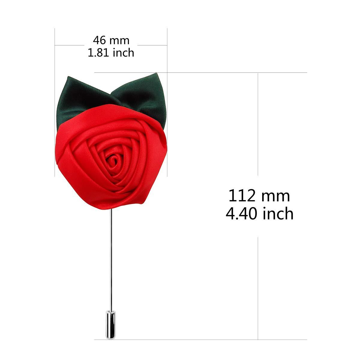 12pcs Christmas Red Flower Green Leaf Lapel Pin Wedding Bountonniere Pins for Men Suit