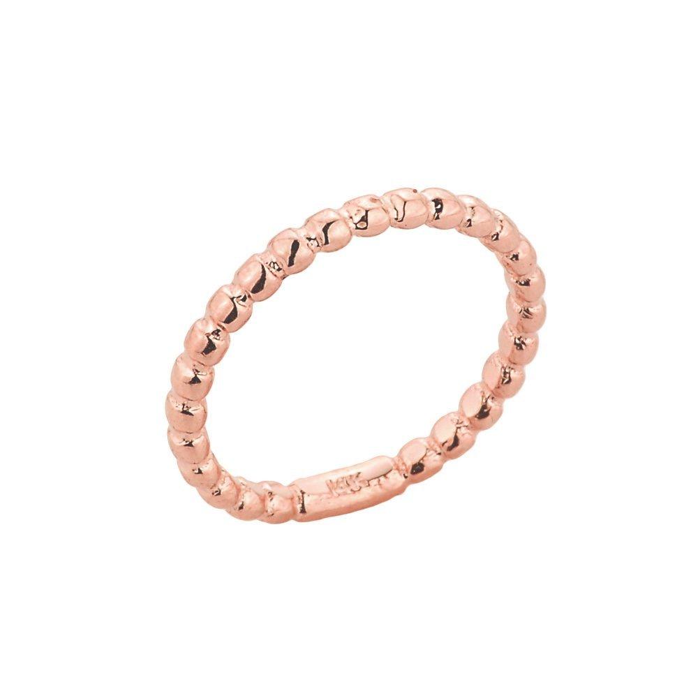 Dainty 10k Rose Gold Mid Finger Beaded Knuckle Ring
