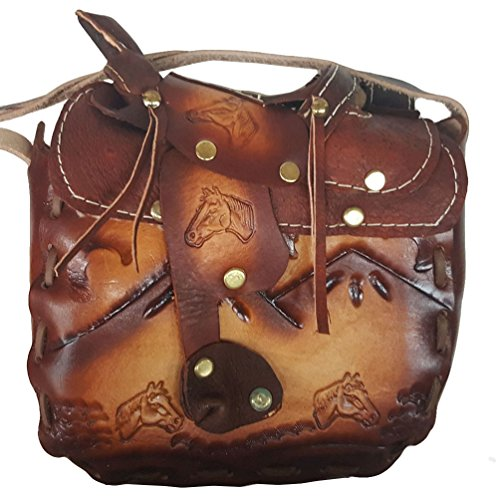 "Modestone Large Leather Borsa a tracolla Decorative Saddle Shape 8"" x 8"" x 3 3/4"""