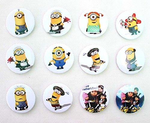Minions Badge Button Pin Set of 12 Randomly Chosen
