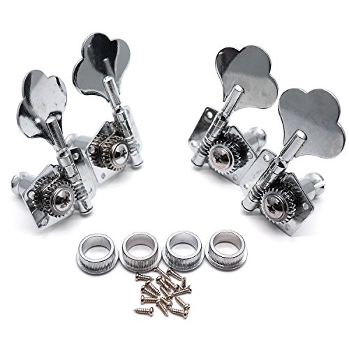 Timiy 4pcs 2 Right 2 Left Chrome Guitar Locking Tuning Pegs Tuners Machine Heads for Acoustic Guitar